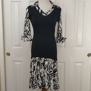 Calvin Klein black and white sweater vest dress